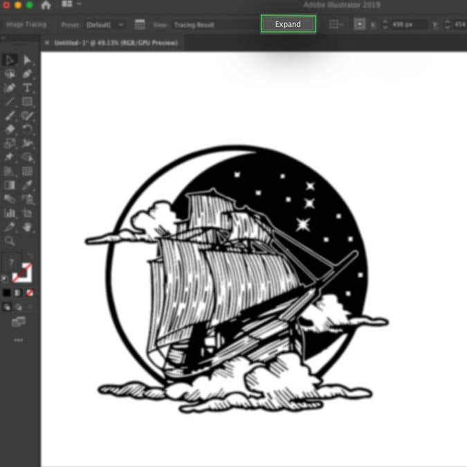 Illustrator interface showing the result of image tracing