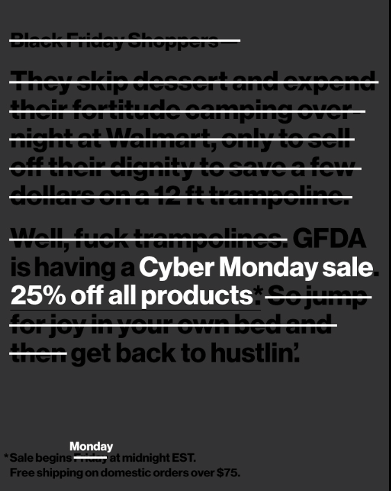 Good Fucking Design Black Friday campaign