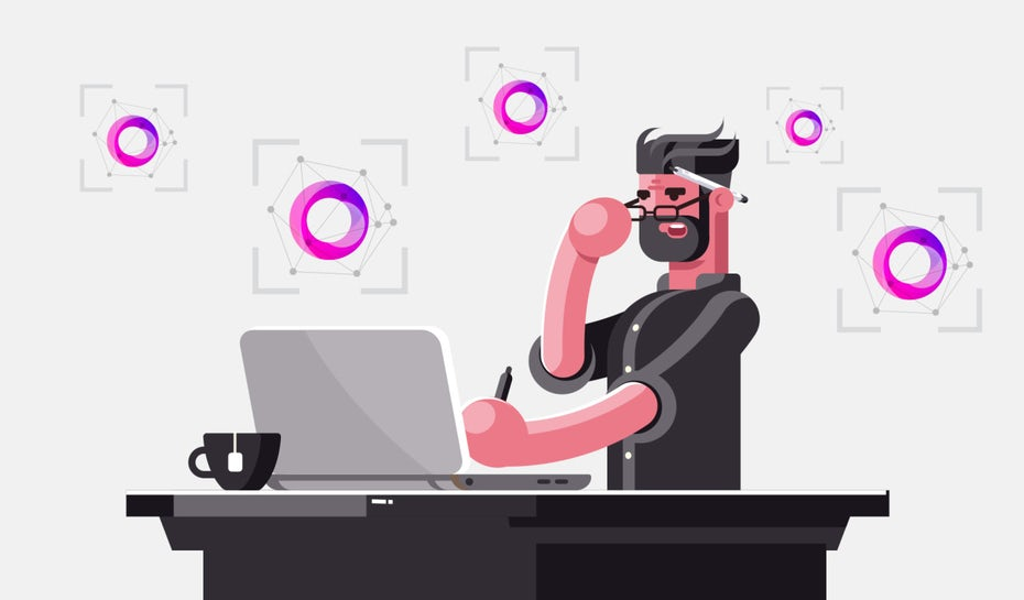 illustration of man at desk using logo recognition software