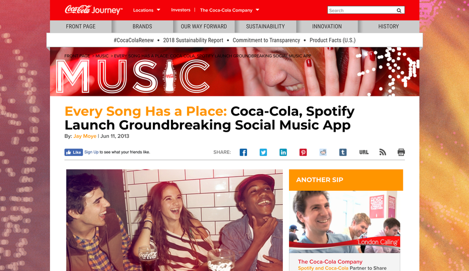 spotify coca cola playlist placelists