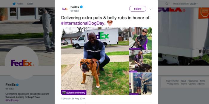 fedex international dog day tweet