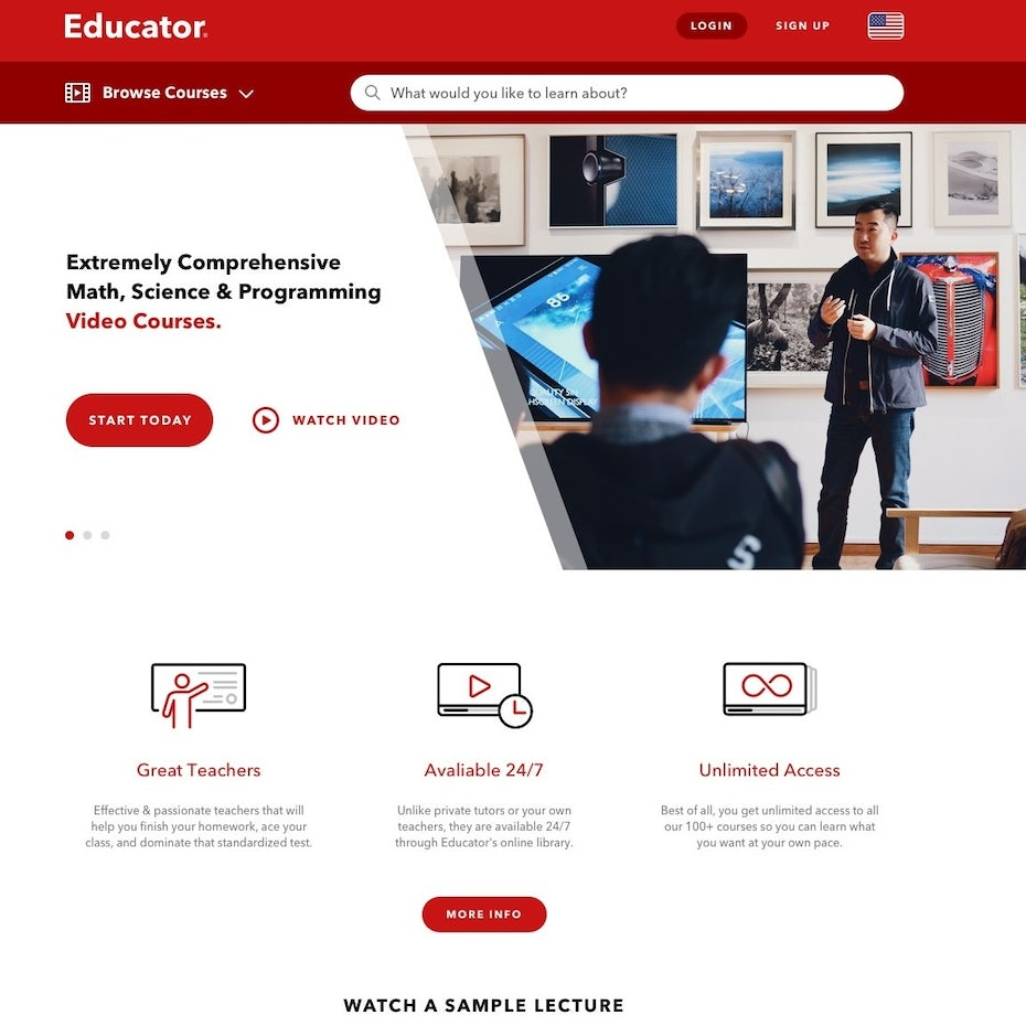 Web design for an online learning platform