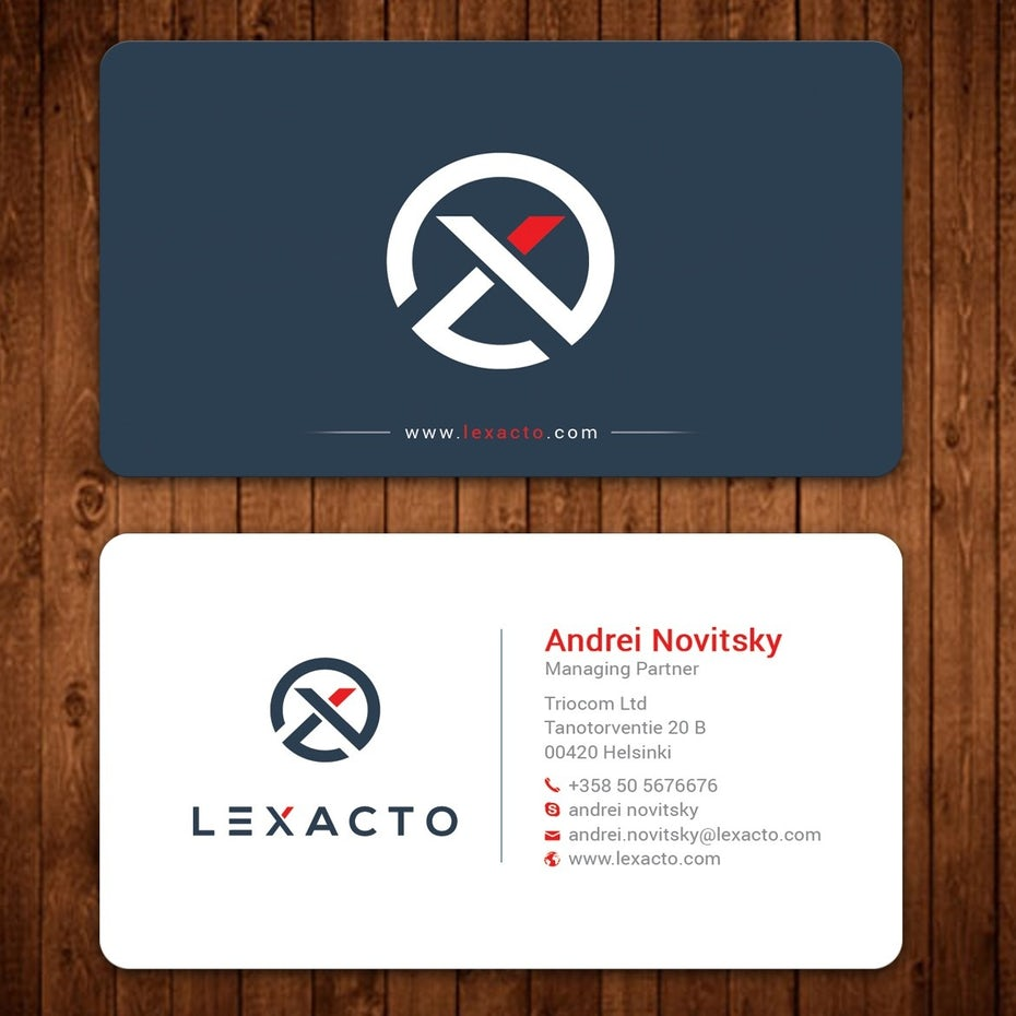 round corner logo lawyer business card