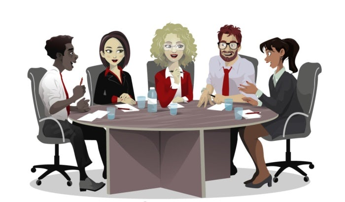 illustration of team talking at table