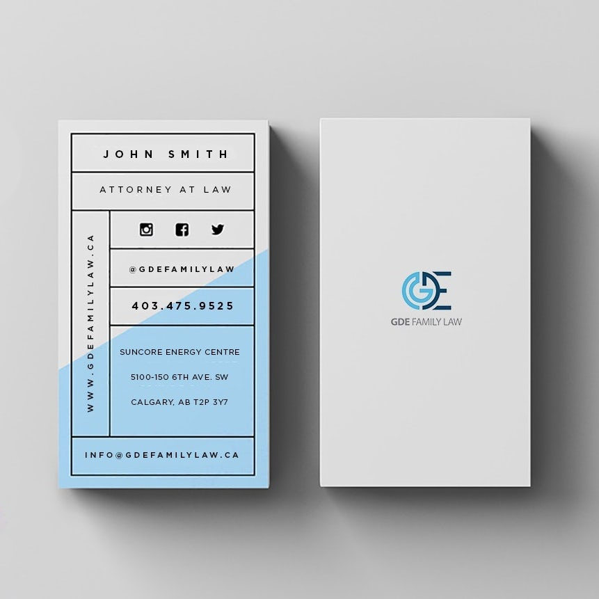 grid white and blue business card