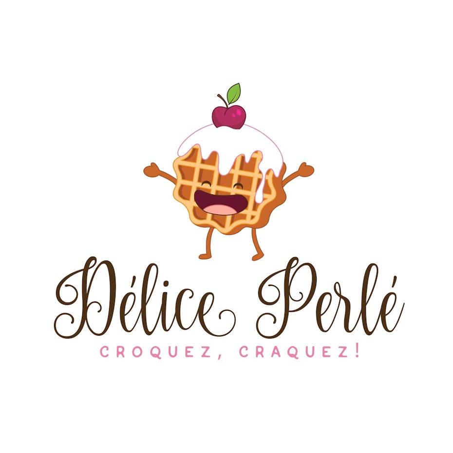 fun waffle logo with mascot