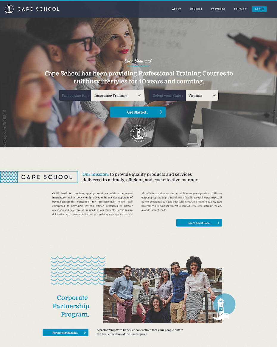 Web design for professional training courses