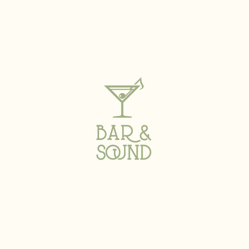 bar logo with illustration of martini glass