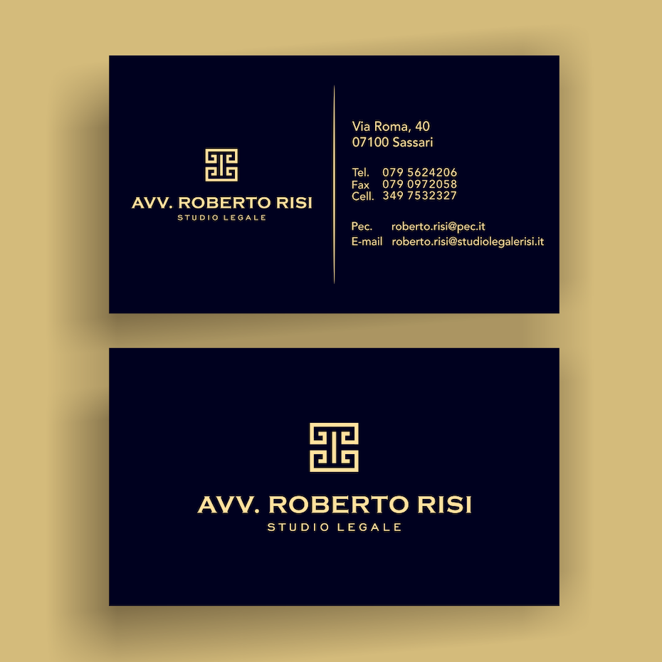 gold black greek symbol business card