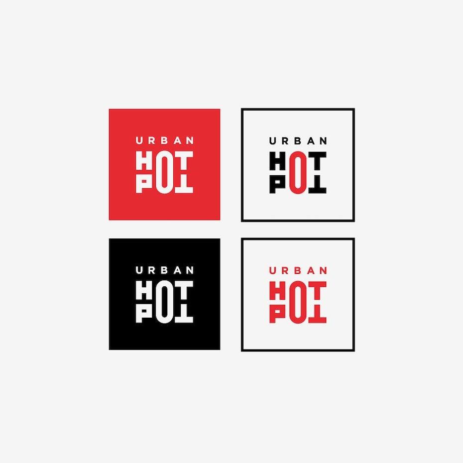 square geometric wordmark restaurant logo