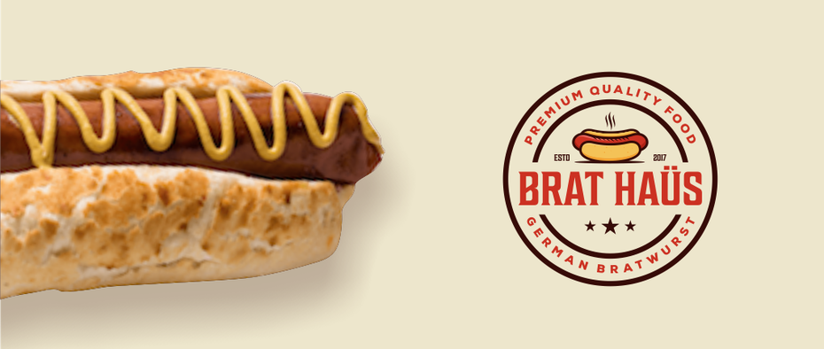 hot dog logo for bratwurst restaurant