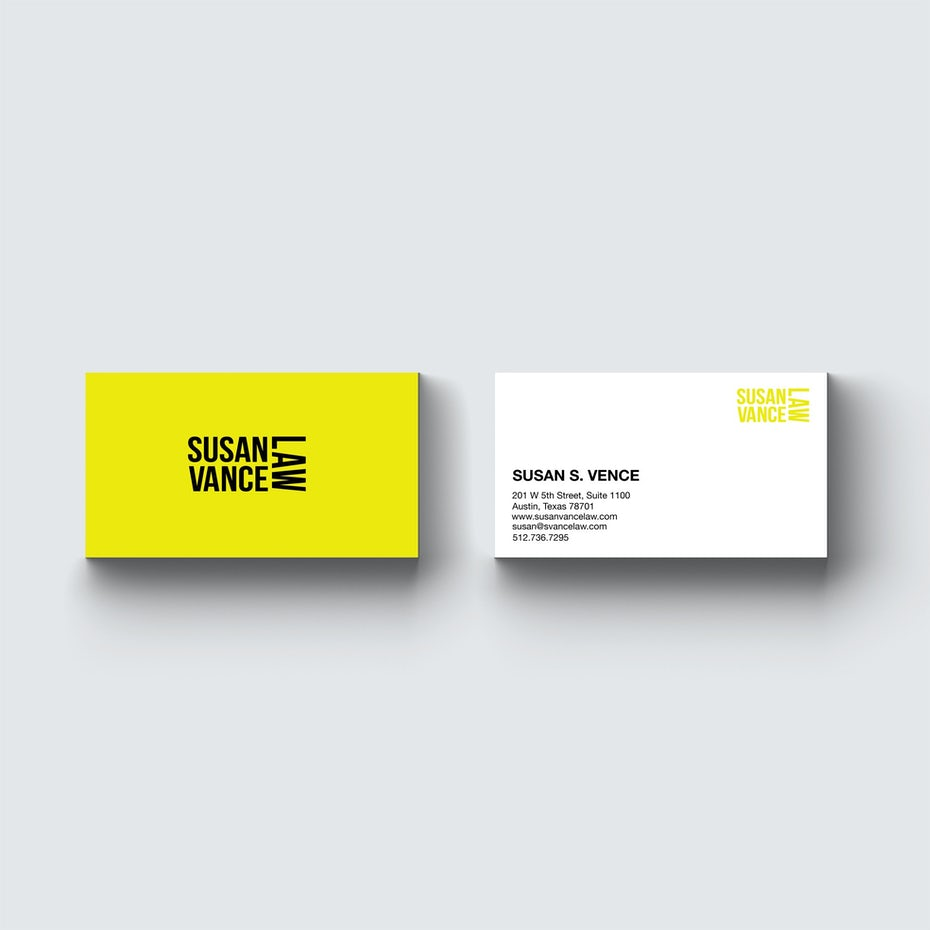 yellow asymmetrical lawyer business card