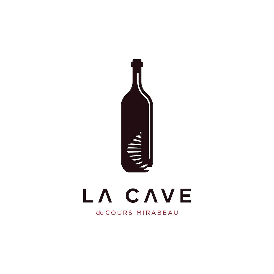 minimal restaurant logo with illustation of a bottle and staircase