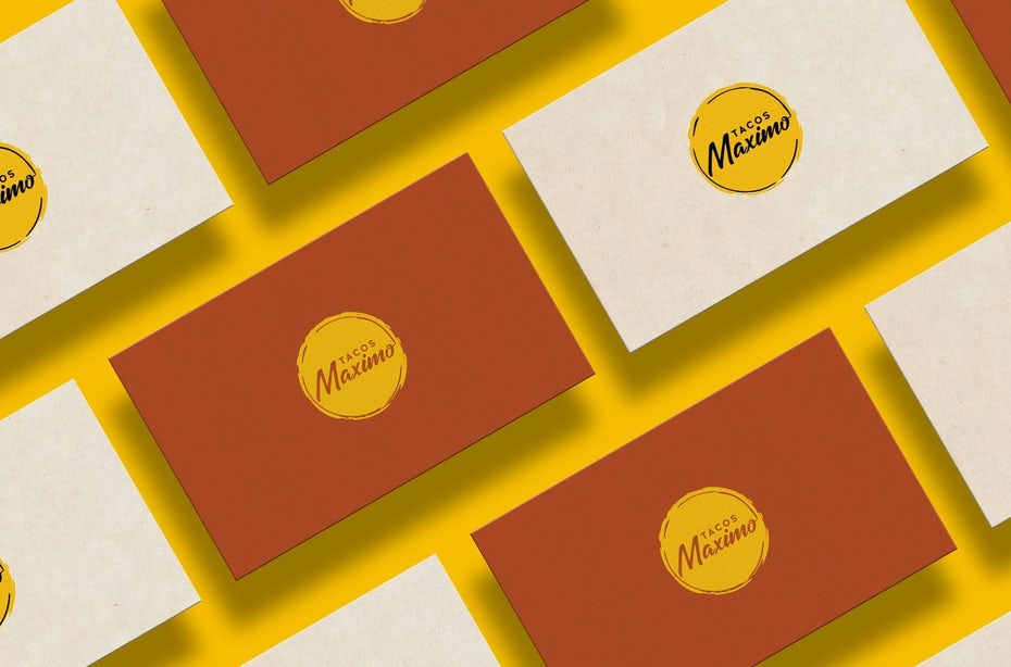 business card with simple classic restaurant logo