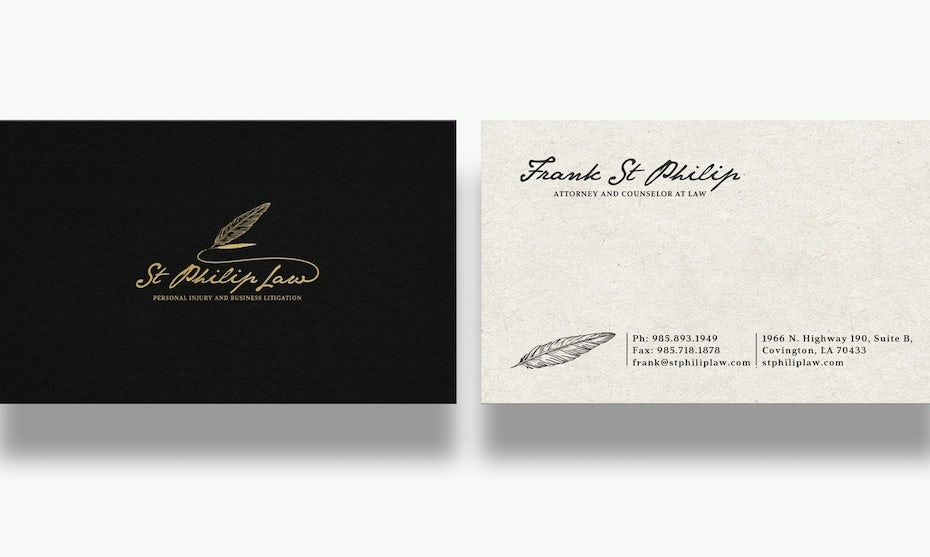 handwritten quill business law card