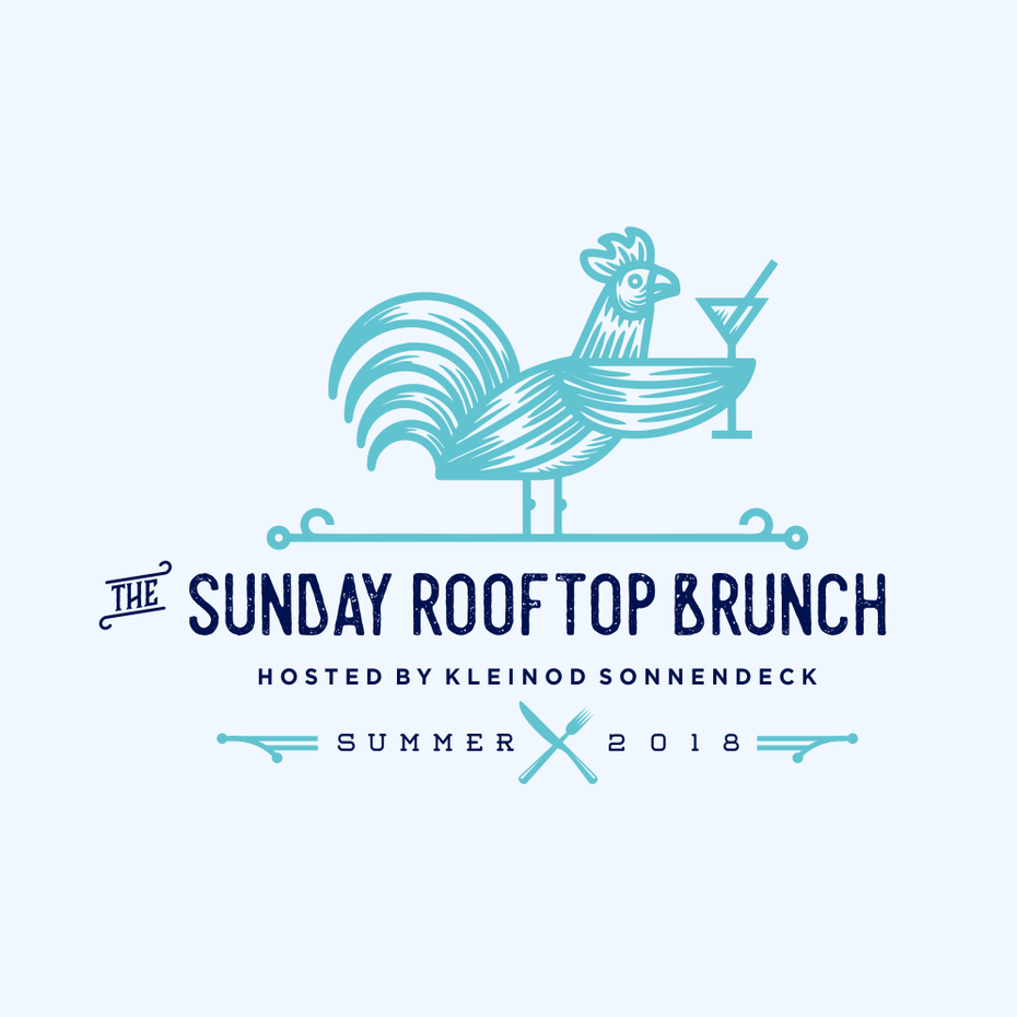 restaurant logo with chicken holding cocktail
