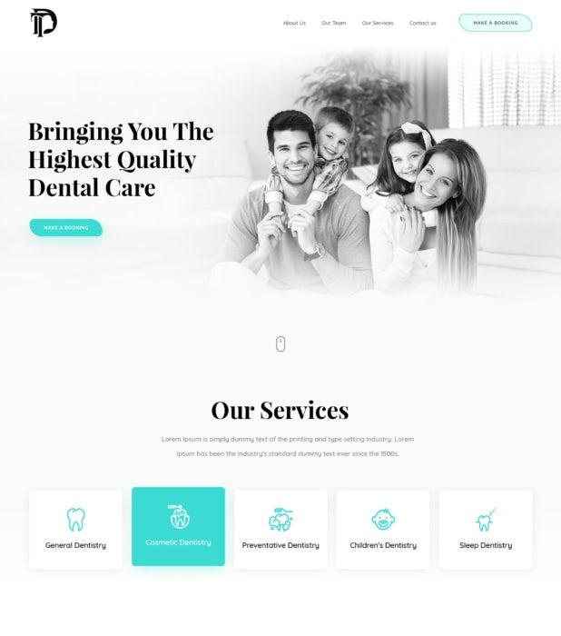 modern dentist website design