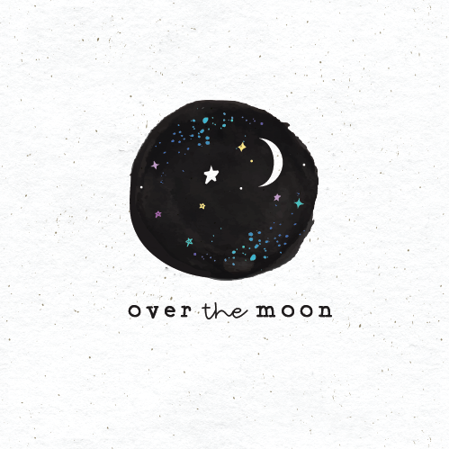 fun and casual restaurant logo in black and white with moon and stars