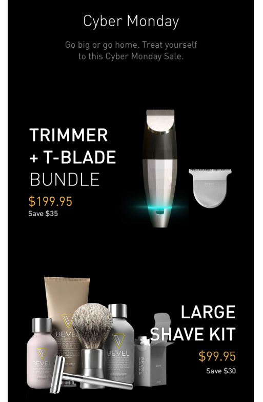 Bevel Cyber Monday campaign