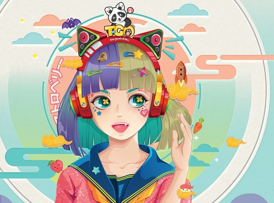 Colorful surreal anime girl illustration