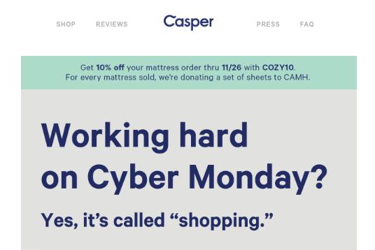 Casper Cyber Monday campaign