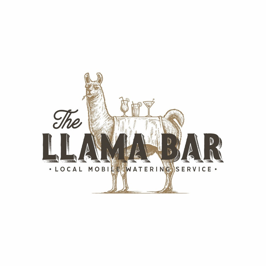 vintage llama logo for restaurant and bar