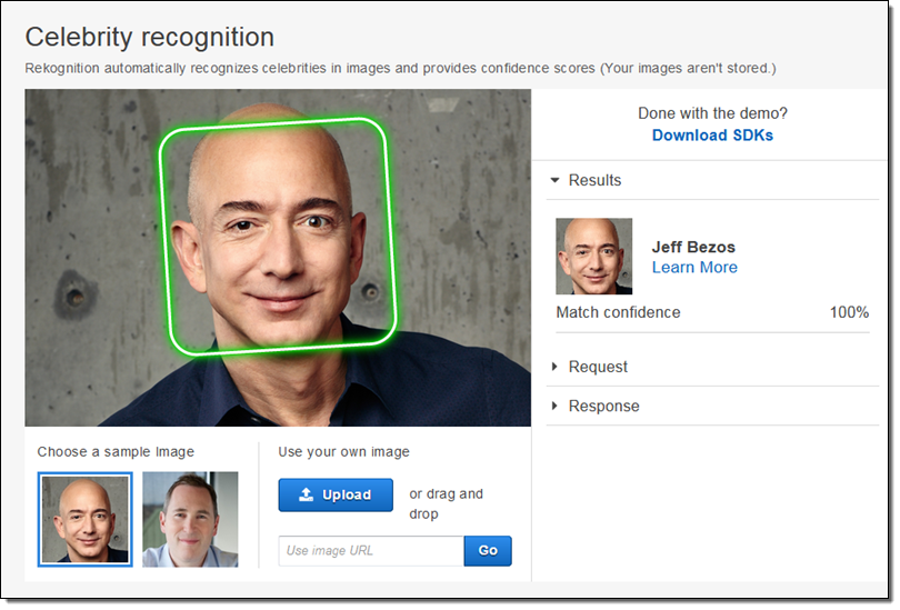 Amazon Rekognition celebrity recognition