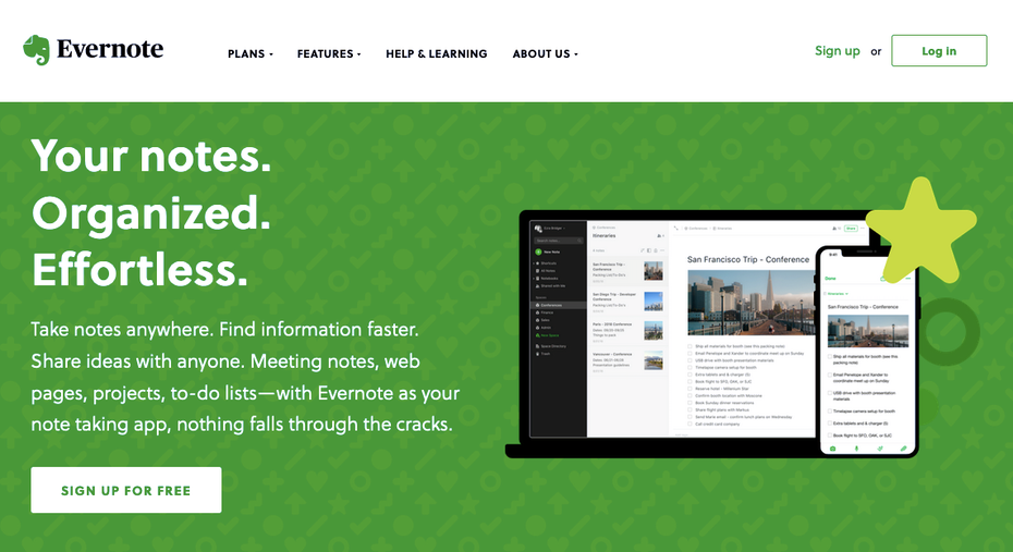 screenshot of evernote homepage