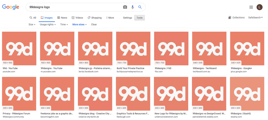 99designs logo on Google Image Recognition