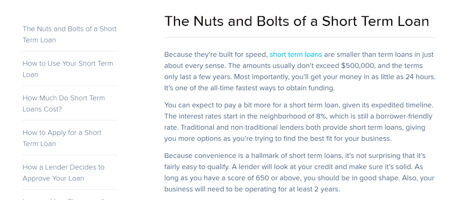Nuts and bolts of short term loan blog post