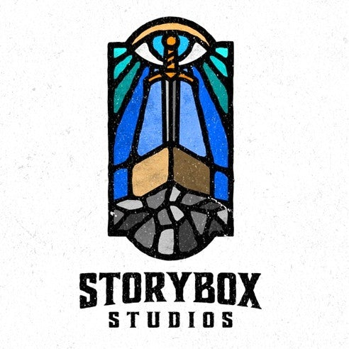 Medieval stained glass style logo