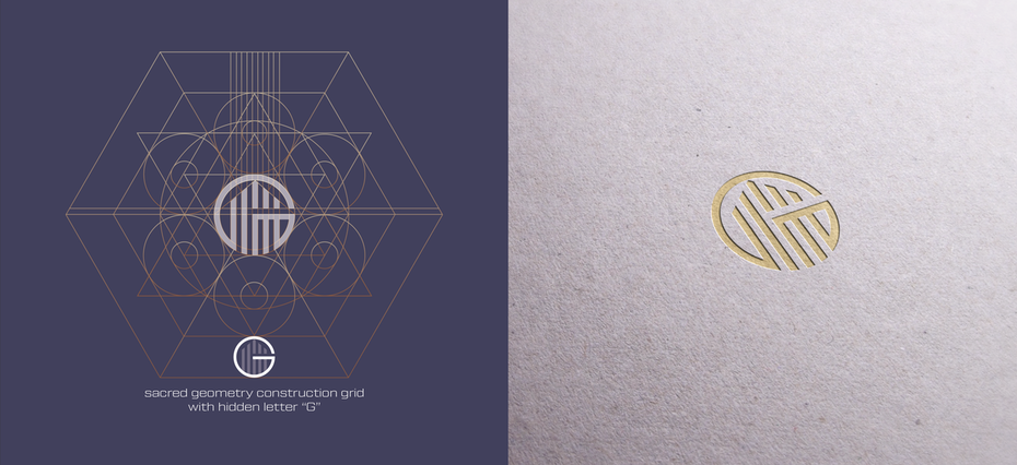 Logo design trends example: logo with construction lines showing geometric building blocks