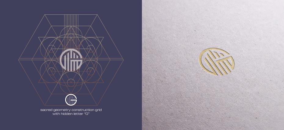 Ví dụ về xu hướng thiết kế logo: logo với các đường xây dựng hiển thị các khối xây dựng hình học