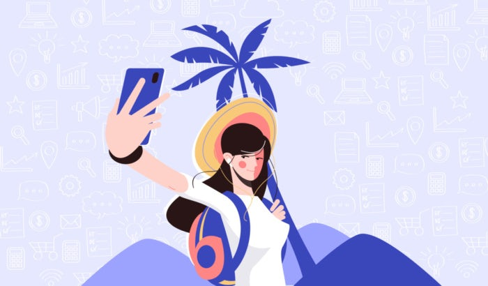Ilustración de una persona que usa medios digitales