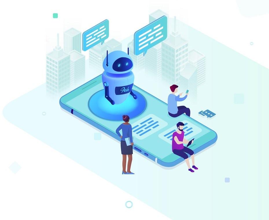 Ejemplo de tendencia de marketing digital 2020: ilustración de un robot en un teléfono inteligente ayudando a los humanos
