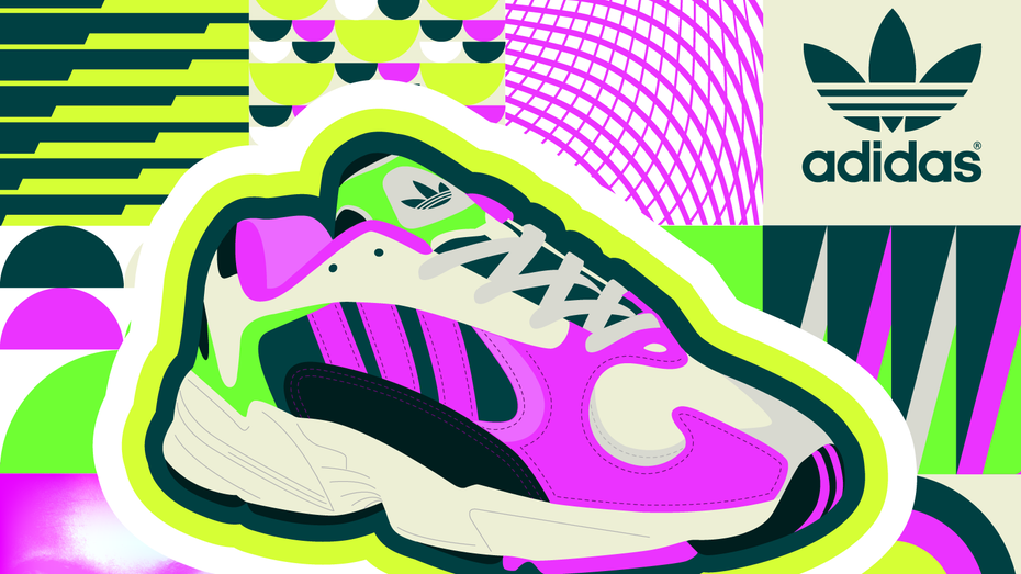 Graphic design trends 2020: Vibrant, neon colored sneakers illustration