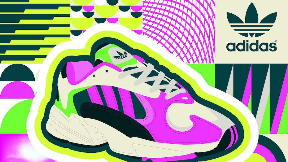 Tendencias de diseño gráfico 2020: ilustración de zapatillas vibrantes de color neón