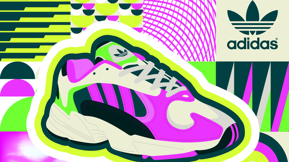 Vibrant, neon colored sneakers illustration