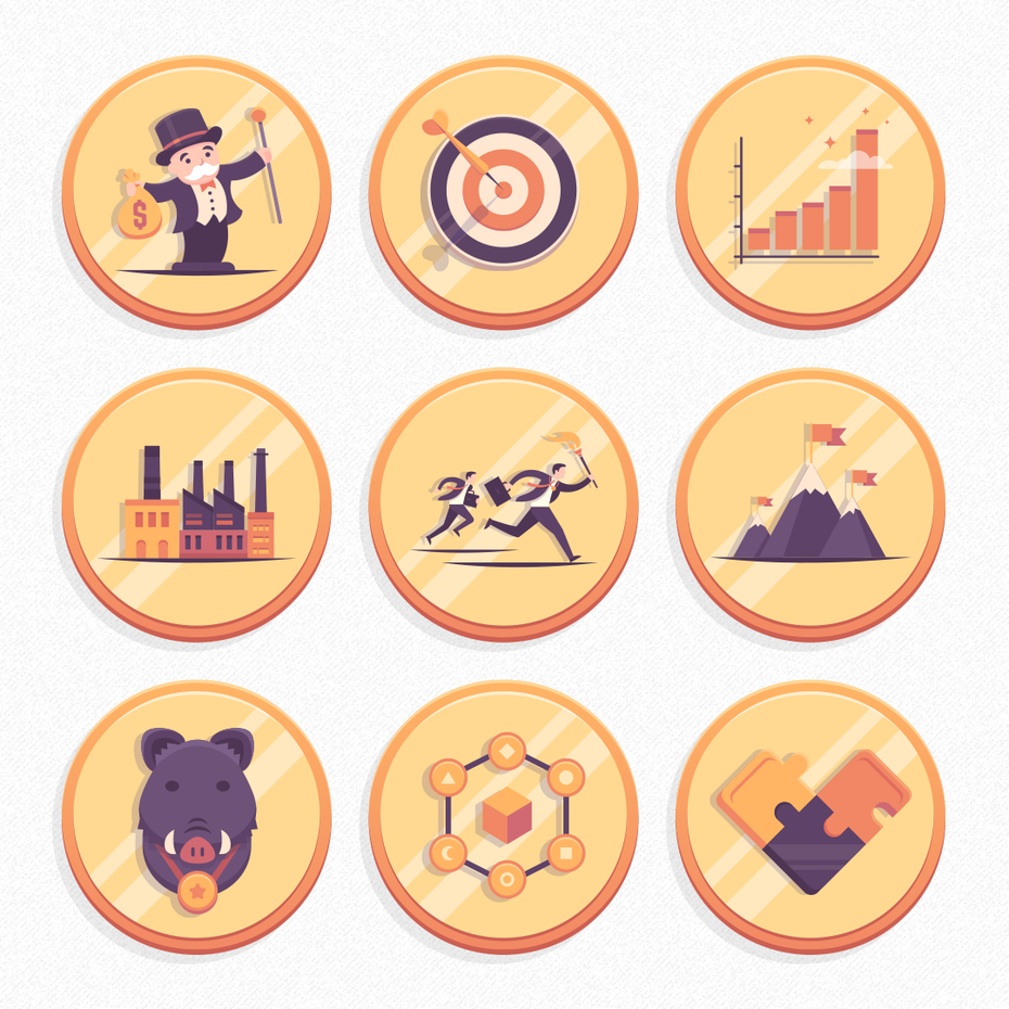 Illustrated coin-style icons for a game
