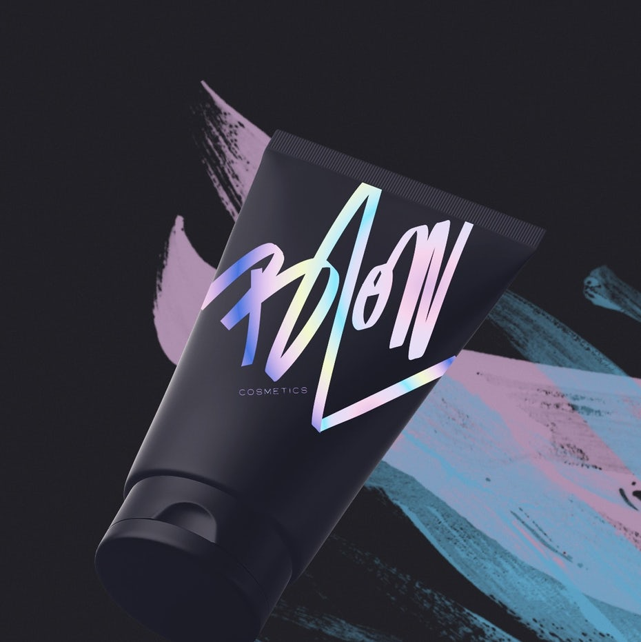 Iridescent hand-lettered logo for a cosmetics brand