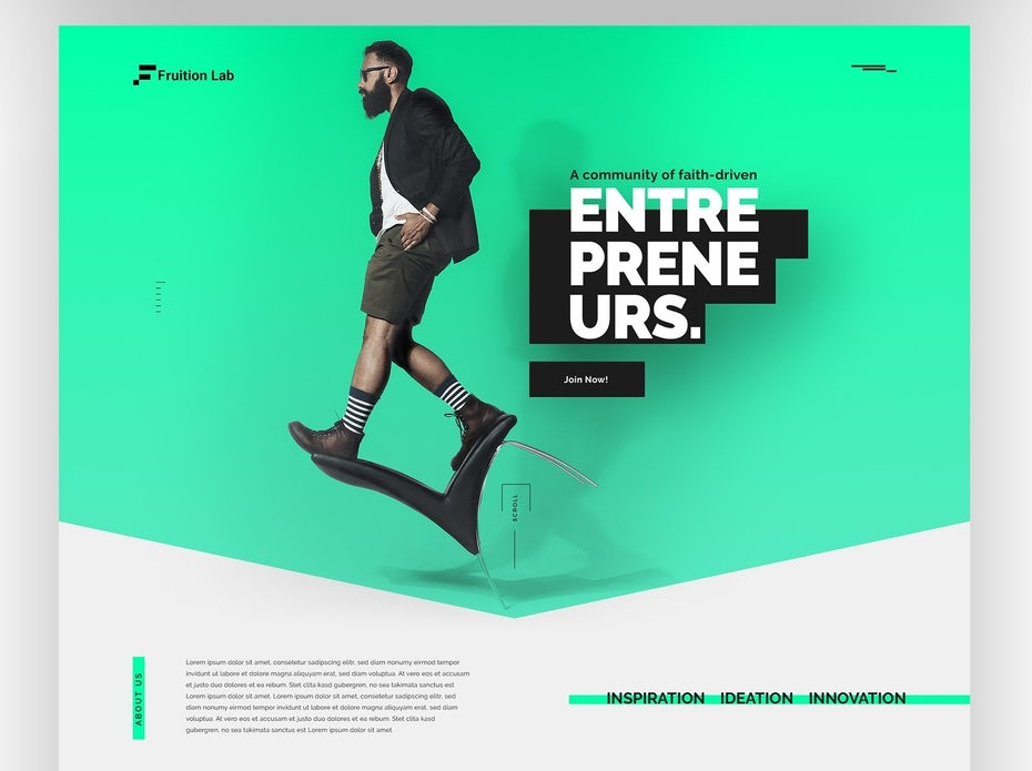 Web design trends 2020 example: web design with floating elements and shadows