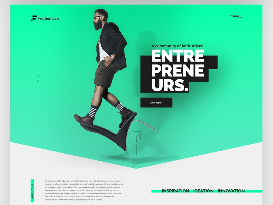 web design with floating elements and shadows