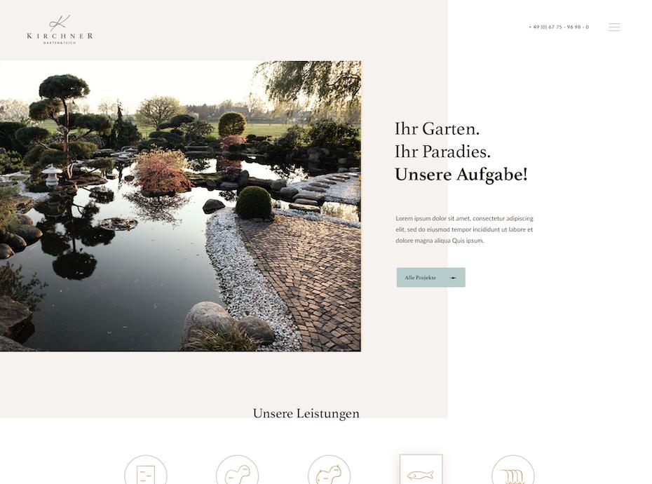 Exemplo da tendência de design web 2020 de enquadramento com espaço em branco