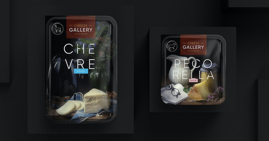 fine art packaging design trend: cheese packaging inspired by still life painting