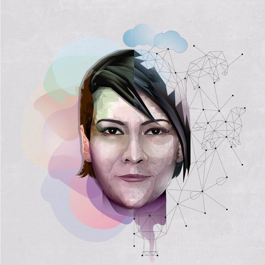 Ejemplo de tendencias de diseño gráfico 2020: ilustración vertical con polígonos abstractos
