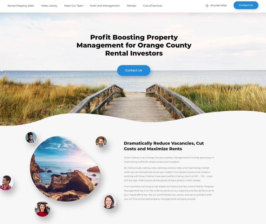 White and blue website design showing a photo of a beach