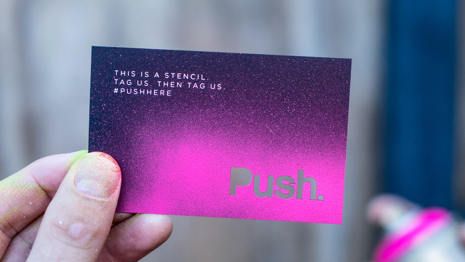 Graphic design trends 2020 example: Spray paint, stenciled business card design