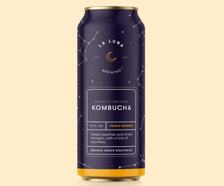 Packaging design trends 2020 example: neatly structured Kombucha packaging