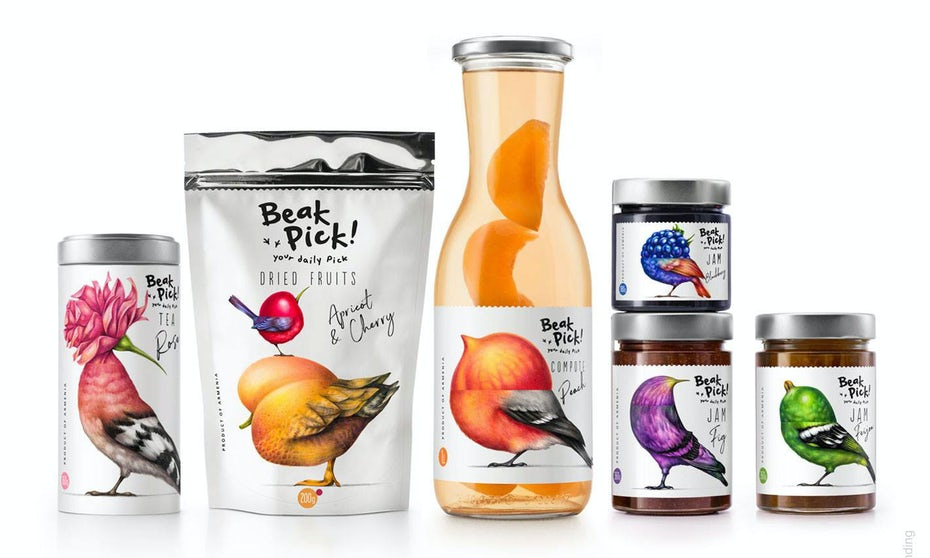 Packaging design trends 2020 example: Beak Pick bird centered packaging