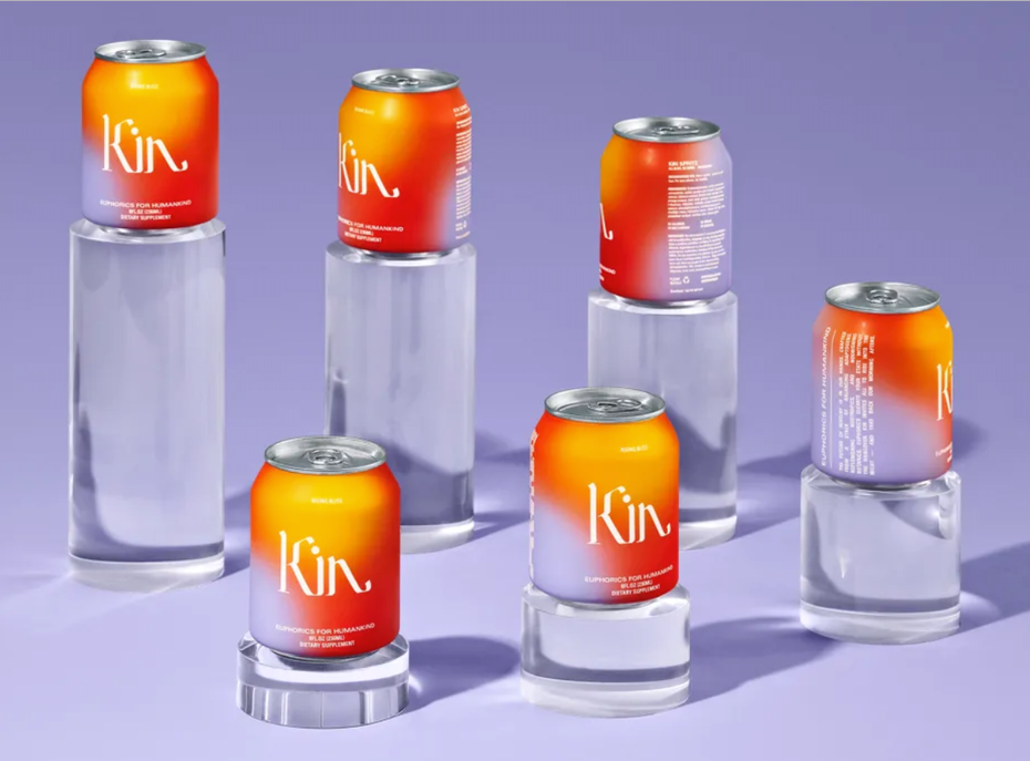Packaging design trends 2020 example: Kin Euphorics can designs with multicolored spotted gradients